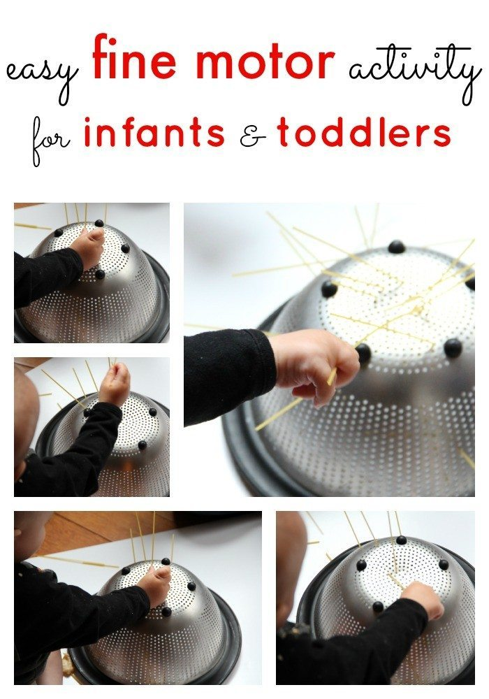 Fine motor activities for infants and toddlers using pasta for Fine motor skills activities for infants