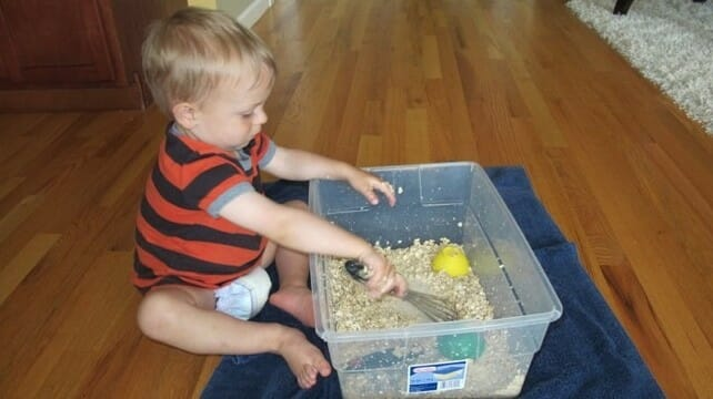 Oats and water mash sensory tub carrots are orange for Arts and crafts for 9 12 year olds
