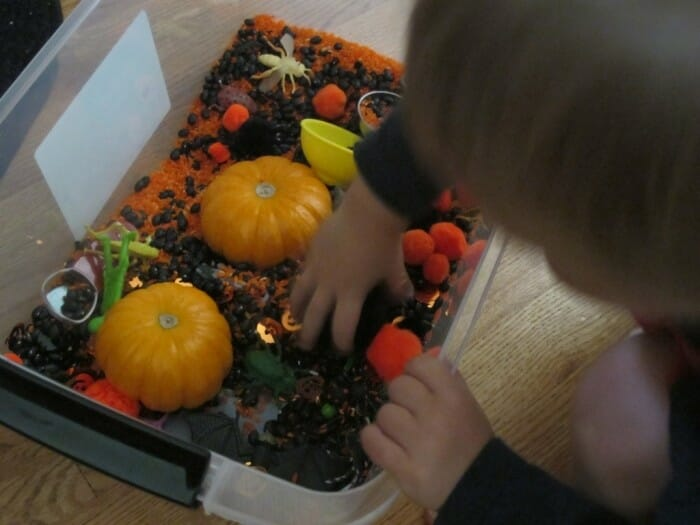 Easy Halloween Sensory Tub for Toddlers
