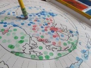 pencil dot earth 300x225 Preschool Pencil Stamp Art   The Earth