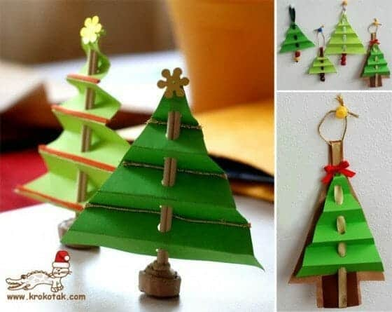 Folded Paper Christmas Tree Ornament