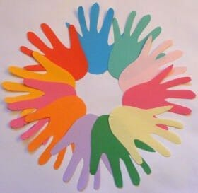 activityvillageukmulticolored handprint wreath The Best Martin Luther King Jr. Crafts for Kids