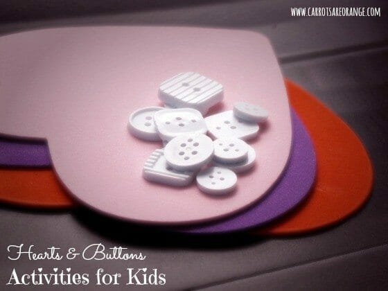 Valentine's Day Activities for Preschoolers with Hearts & Buttons