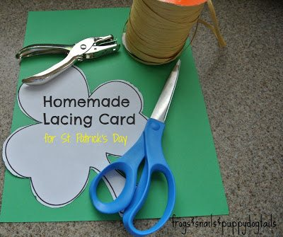 homemade lacing card for st. patrick's day
