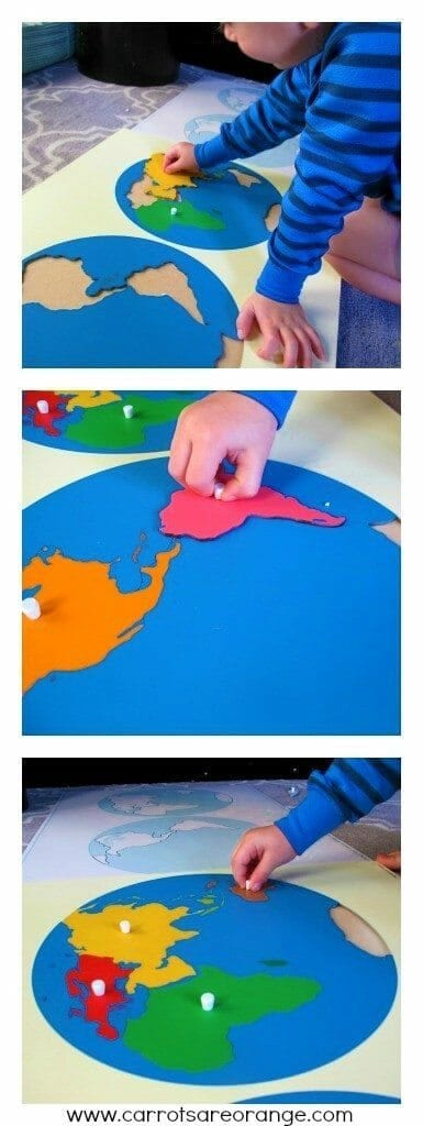 montessoriworldcontinentmap Teaching Geography to Preschoolers