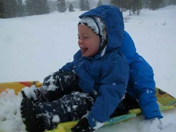 Boy Sledding Joy