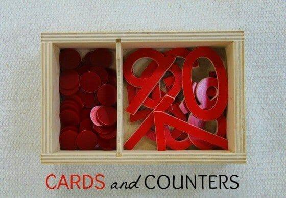 Montessori Math Lessons Cards & Counters