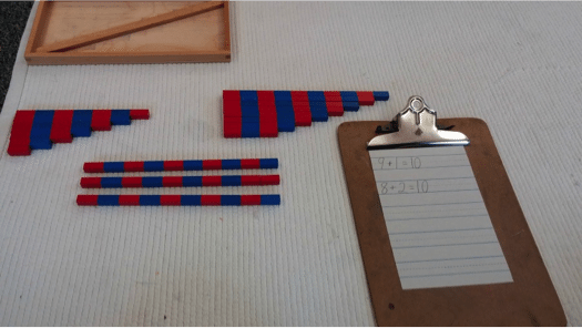 number rod addition with 10 Montessori Math Number Rod Addition