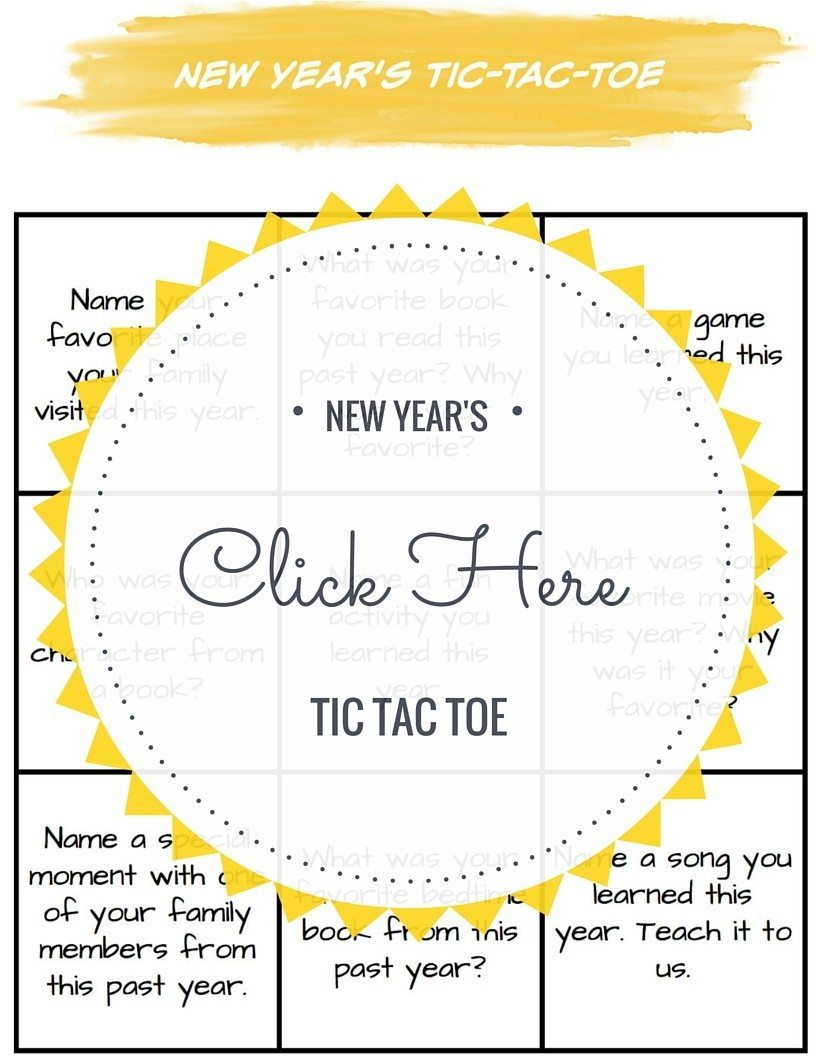 new years activity tic tac toe
