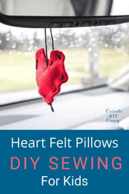 Pinable photo of felt heart
