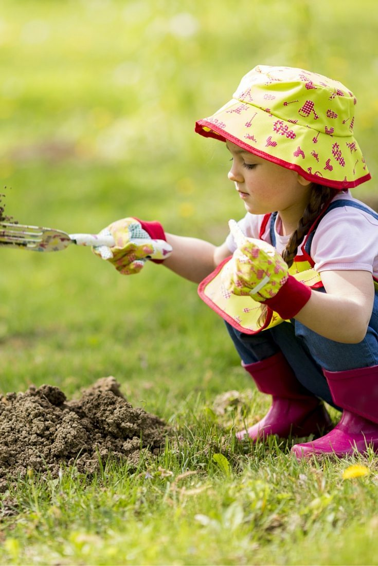 tools to help create a garden with kids