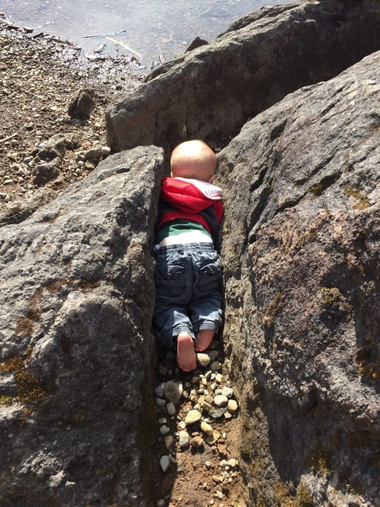 children in nature rock
