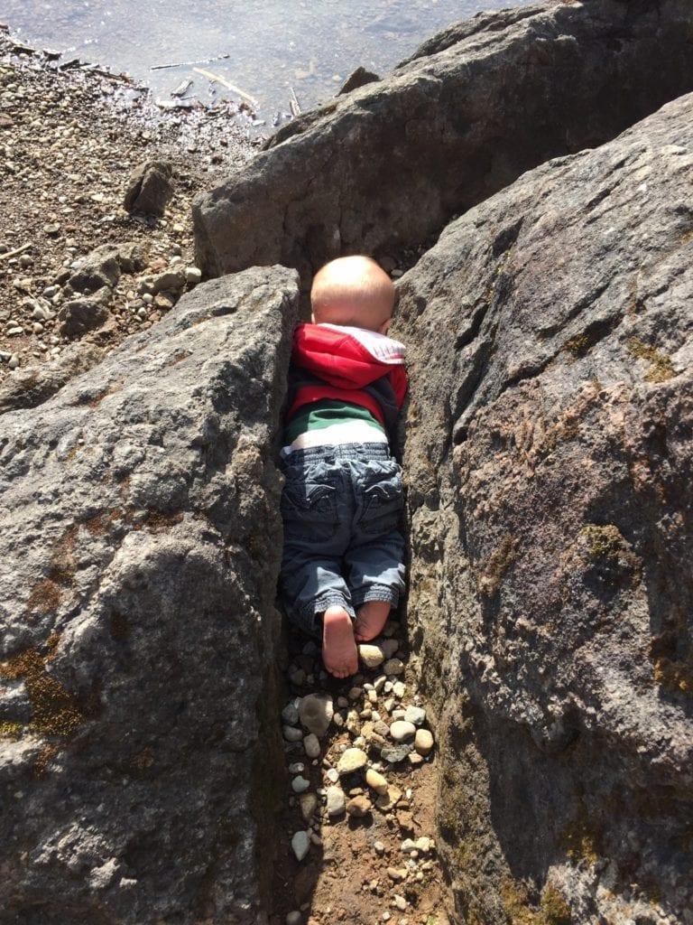 children in nature rock