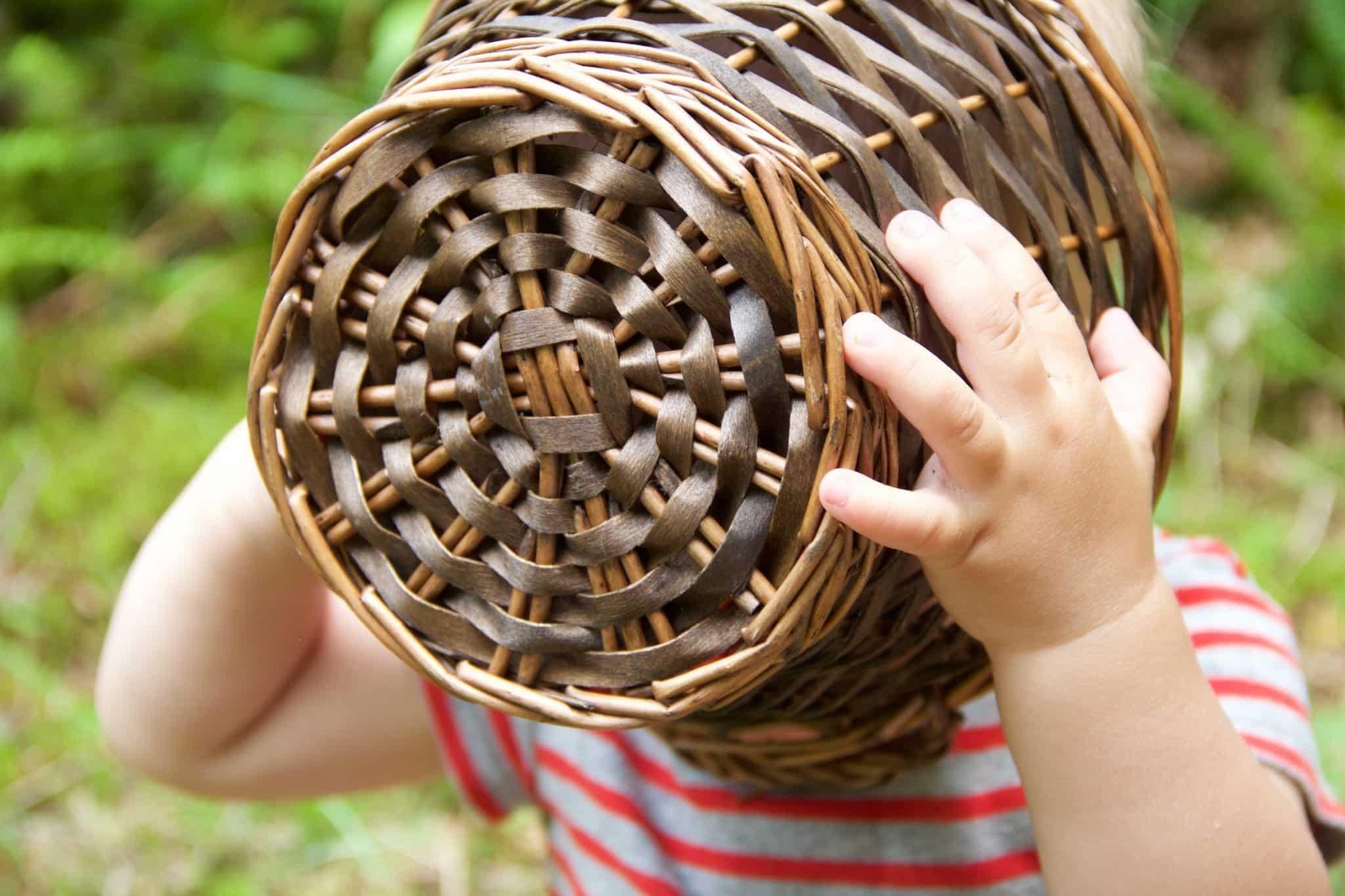 children in nature basket