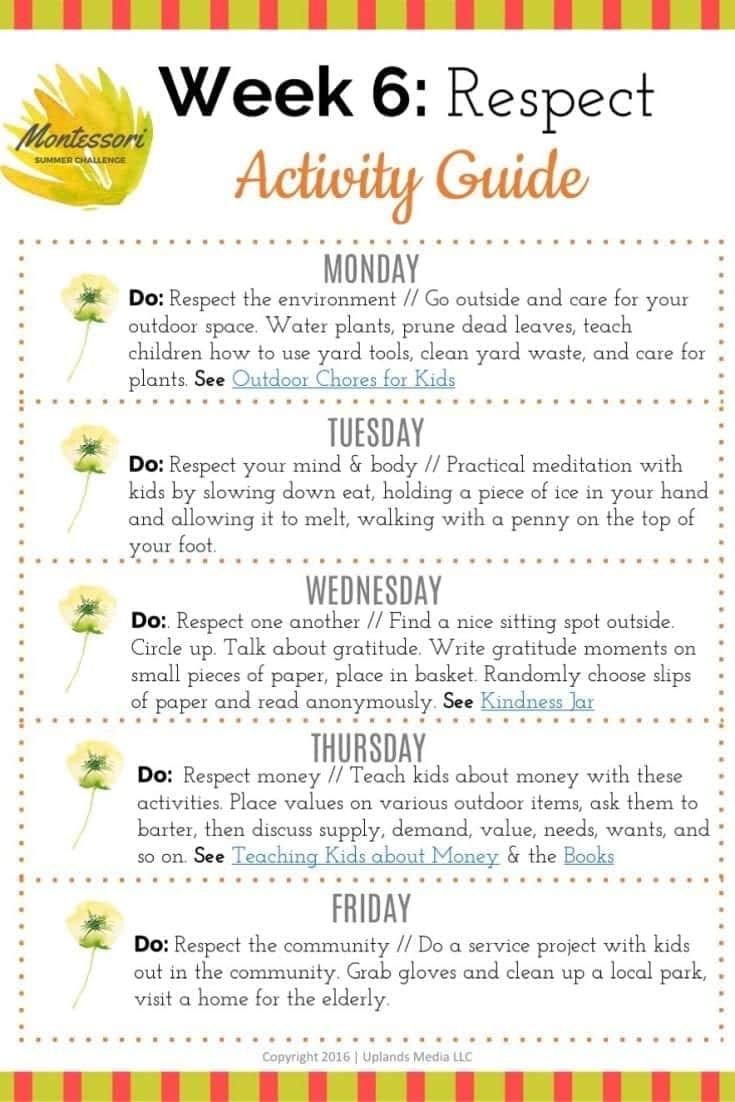 Montessori Summer Challenge – Week 6 – Respect