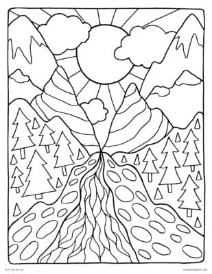 Earth Day Coloring Page - Mountain Pass