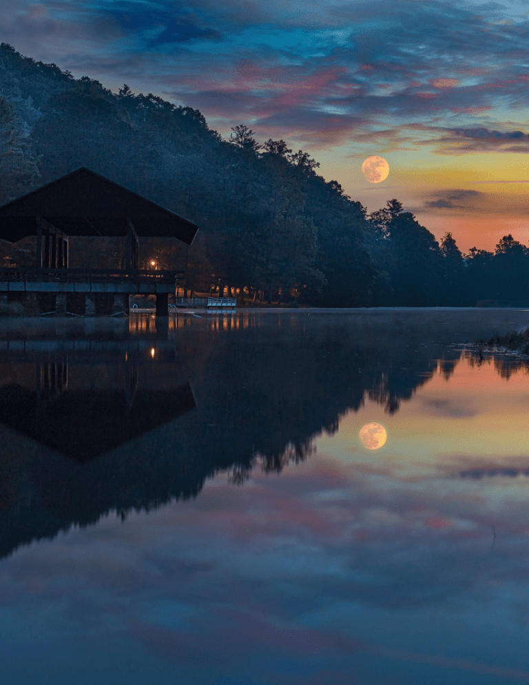 Nighttime reflection over a lake