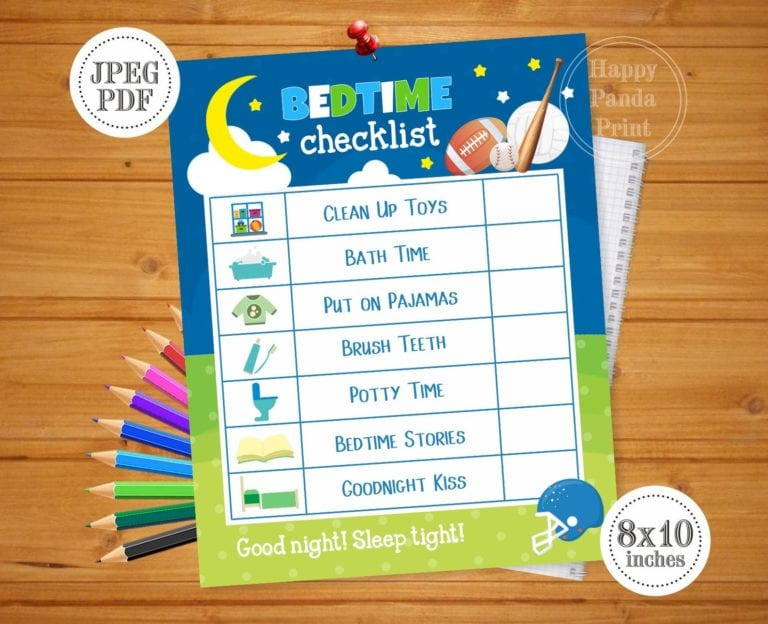 Colorful Toddler Bedtime Checklist