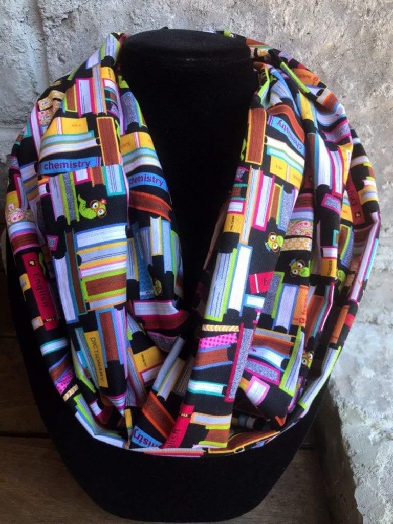 Book Patterned Infinity Scarf