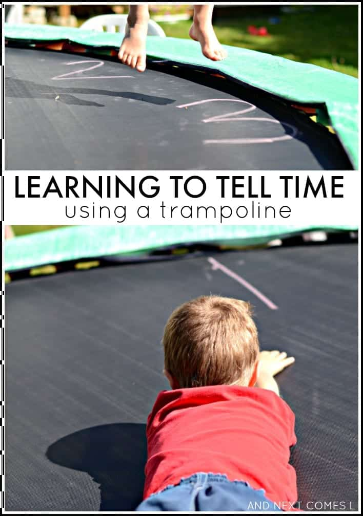 kids telling time on a trampoline