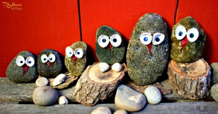 Stone and Shell Owl Craft for Kids