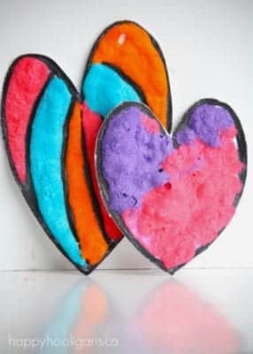 puffy paint heart valentines day craft