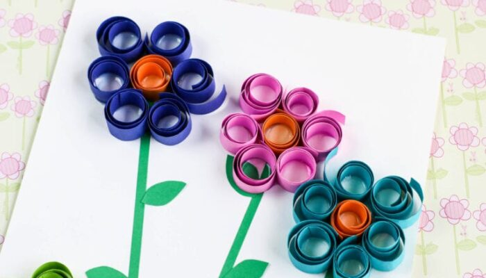 Simple & Beautiful Curled Paper Flowers Craft for Kids